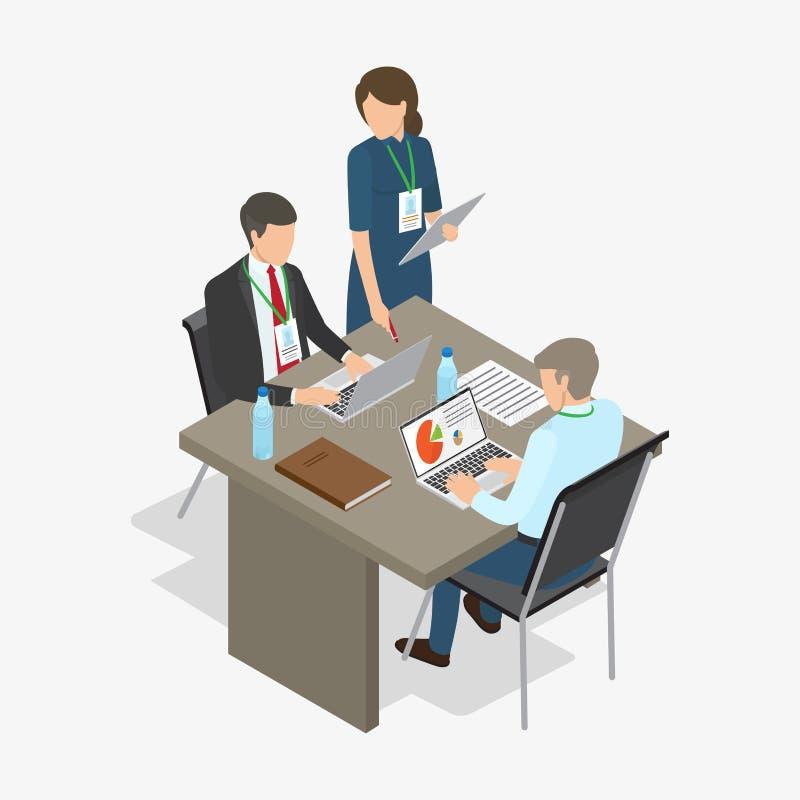 Los trabajadores hacen trabajo ejemplo Negocio-temático libre illustration