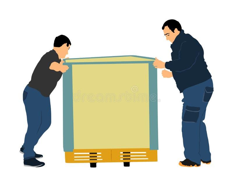 Los trabajadores que empujan la carretilla y llevan el ejemplo grande del vector de la caja aislado en el fondo blanco Paquete mó stock de ilustración