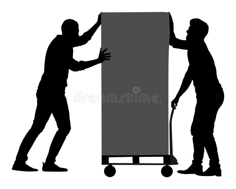 Los trabajadores que empujan la carretilla y llevan vector grande de la caja Paquete móvil del hombre de entrega en carro Manteng stock de ilustración