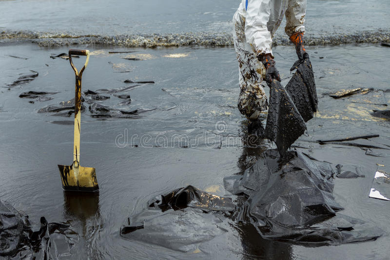 Los trabajadores quitan y limpian el petróleo crudo derramado con el pap absorbente fotos de archivo