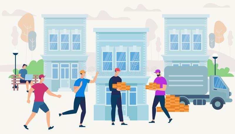 Los trabajadores traen ladrillos de Van Car para construir la casa stock de ilustración