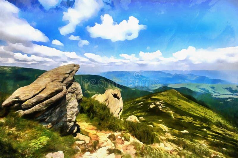 Los trabajos en el estilo de la pintura de la acuarela Landscap de la montaña ilustración del vector