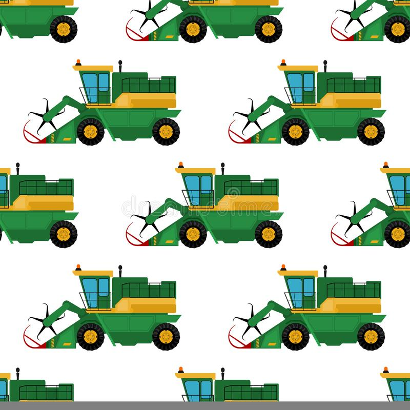 Los tractores inconsútiles de la maquinaria del fondo del modelo del equipamiento agrícola industrial de la agricultura combina y libre illustration