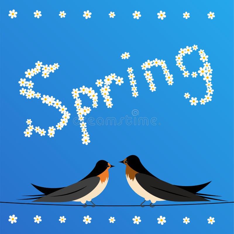 Los tragos se encaramaron en un alambre con la primavera de la muestra libre illustration