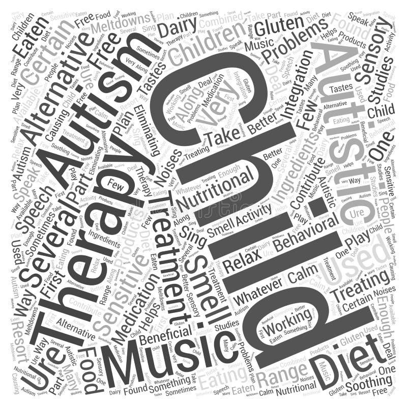 Los tratamientos alternativos para la palabra del autismo se nublan el fondo del vector del concepto ilustración del vector