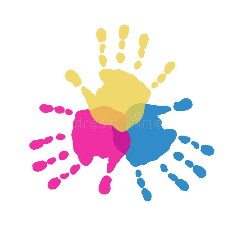 Los tres colores primarios de handprints stock de ilustración