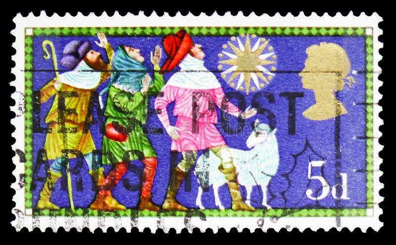 Los tres pastores, la Navidad 1969 - serie religioso tradicional de los temas, circa 1969 imágenes de archivo libres de regalías