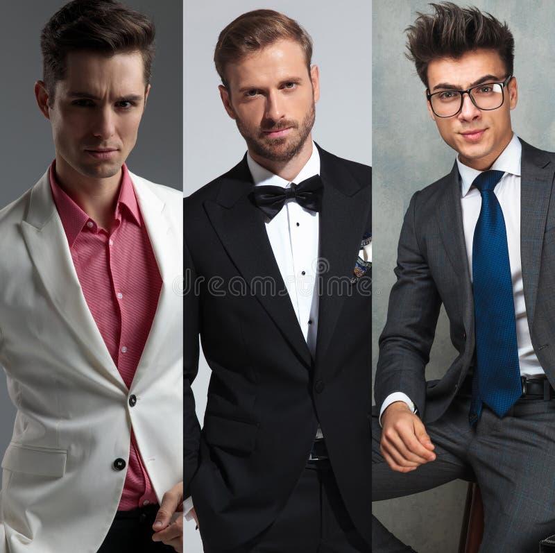 Los tres retratos de los hombres elegantes en una foto del collage imágenes de archivo libres de regalías