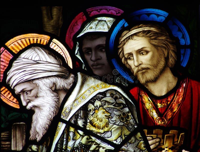 Los tres reyes que visitan a Jesús fotografía de archivo