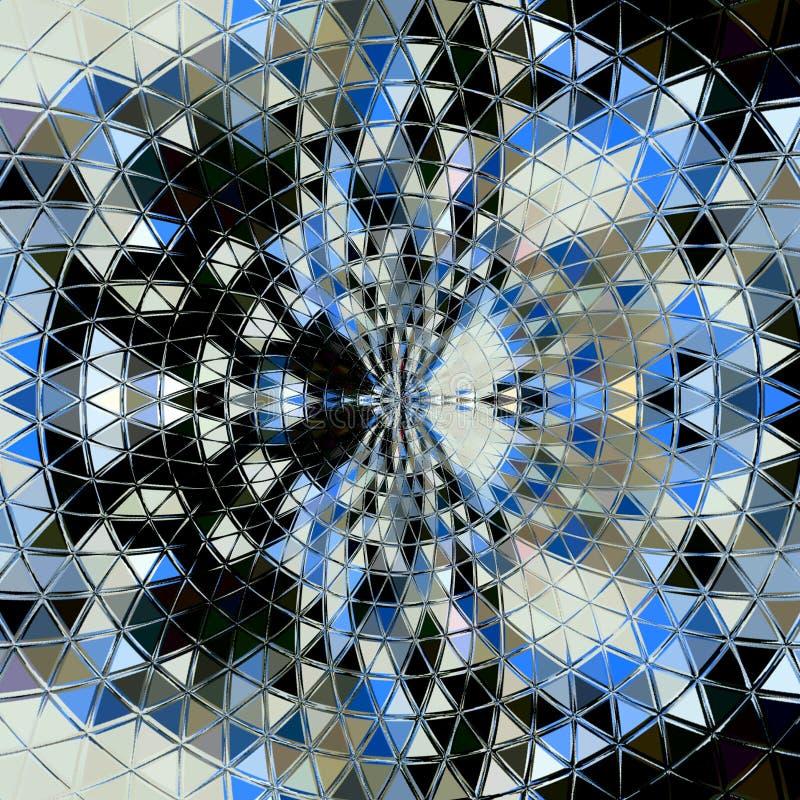 Los triángulos abstractos protagonizan el contexto colorido del círculo Mosaicblue, gris, negro, ronda blanca imagenes de archivo