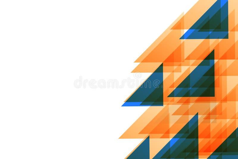 Los triángulos anaranjados y azules semitransparentes que coincidían uno otro concentraron Idea creativa del fondo para Digitaces ilustración del vector