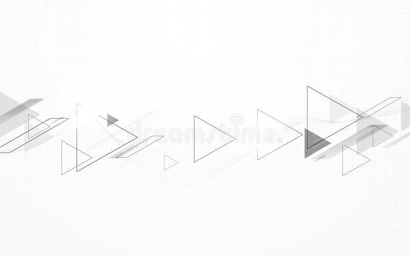 Los triángulos blancos y negros abstractos apresuran el fondo del movimiento ilustración del vector