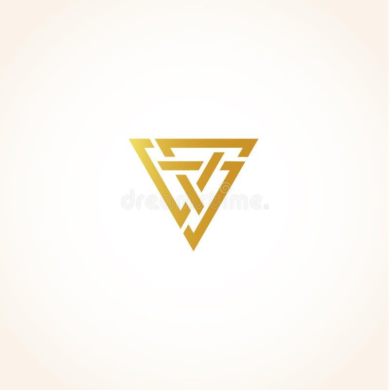 Los triángulos de oro abstractos aislados del color contornean el logotipo en el fondo negro, logotipo triangular geométrico de l ilustración del vector