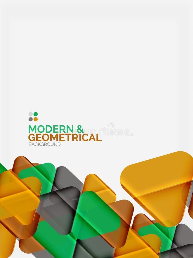 Los triángulos geométricos coloridos modernos con efecto brillante brillante con la muestra mandan un SMS stock de ilustración