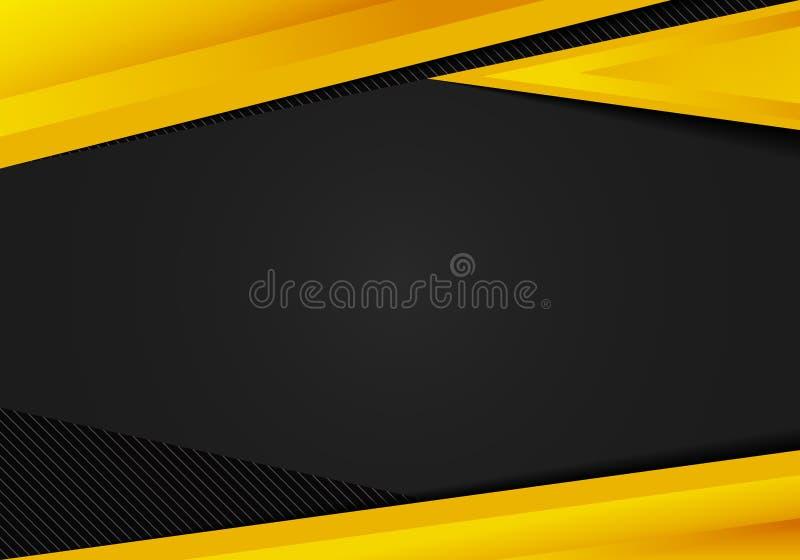 Los tri?ngulos geom?tricos amarillos de la plantilla del extracto ponen en contraste el fondo negro Usted puede utilizar para el  ilustración del vector