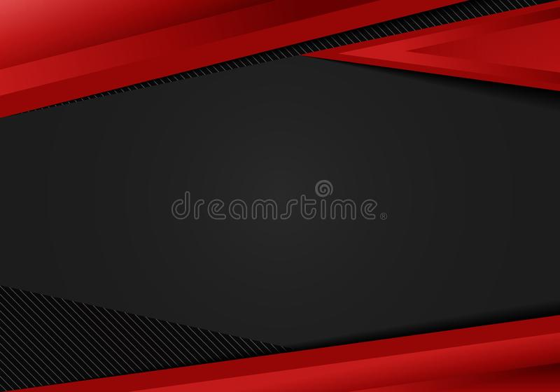 Los tri?ngulos geom?tricos rojos de la plantilla del extracto ponen en contraste el fondo negro Usted puede utilizar para el dise stock de ilustración