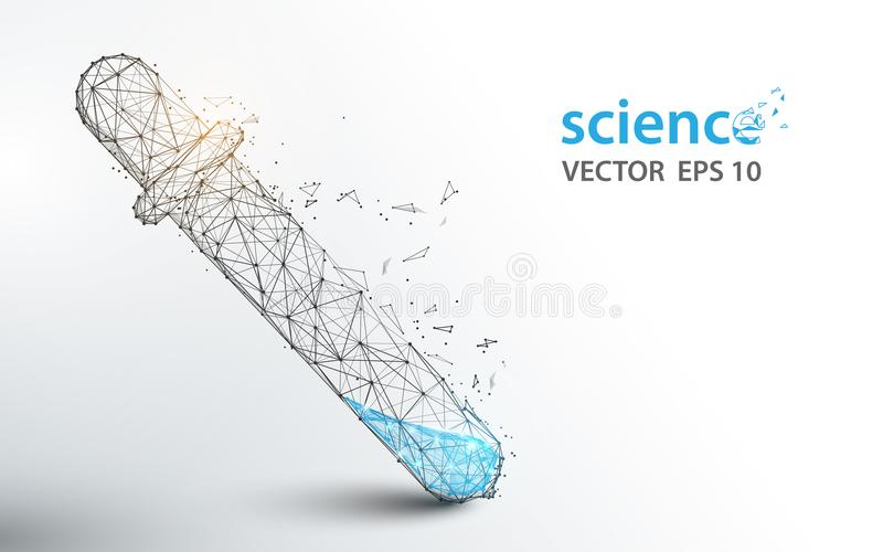 Los tubos de ensayo del laboratorio de ciencia forman líneas y diseño del estilo de la partícula libre illustration