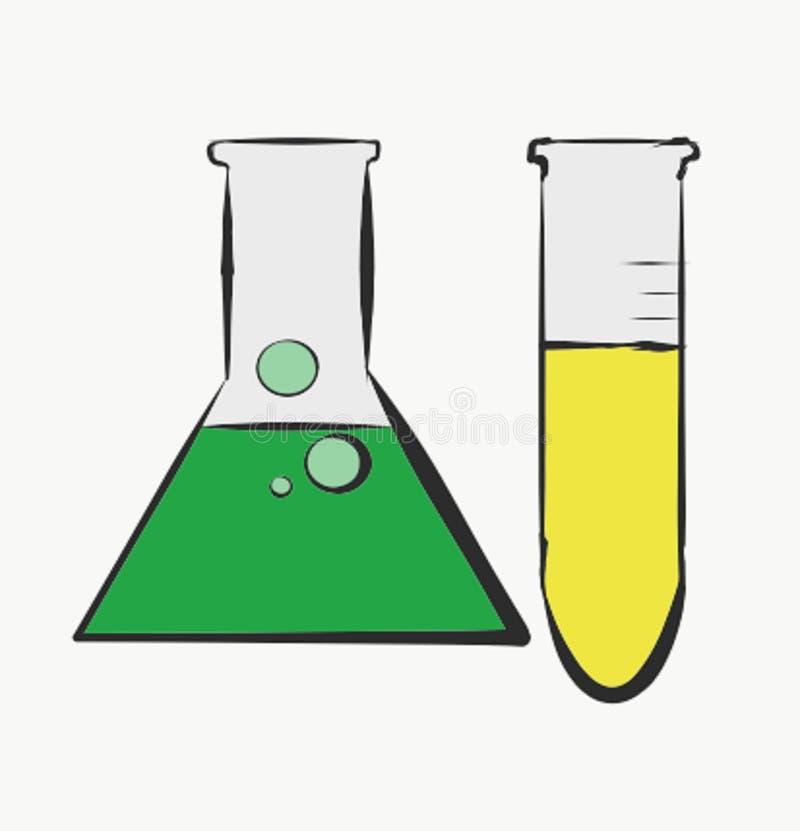 Los tubos de ensayo de la ciencia ponen verde colores amarillos que la carrera abstracta Art Photo Illustration Vector Education  libre illustration