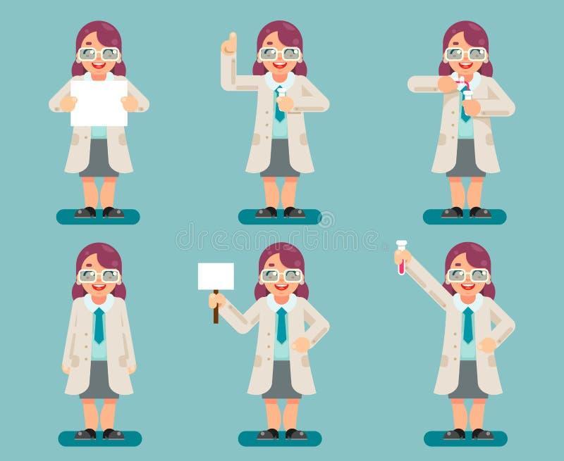 Los tubos de ensayo químicos del científico elegante sabio de sexo femenino experimentan vector plano del sistema de los iconos d stock de ilustración