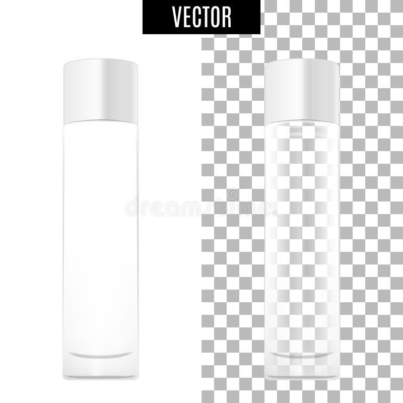 los tubos vacíos del icono cosmético realista blanco del paquete 3d en fondo transparente vector el ejemplo Blanco realista libre illustration