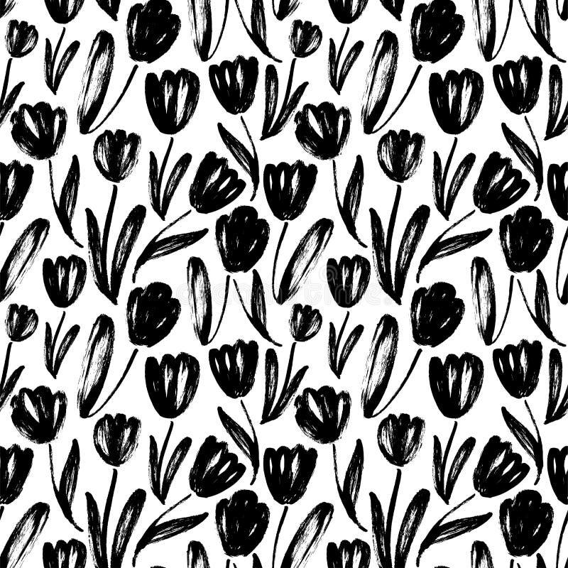 Los tulipanes dan el modelo inconsútil exhausto stock de ilustración