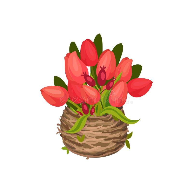 Los tulipanes rojos están en la imagen del vector de la jerarquía en el fondo blanco stock de ilustración