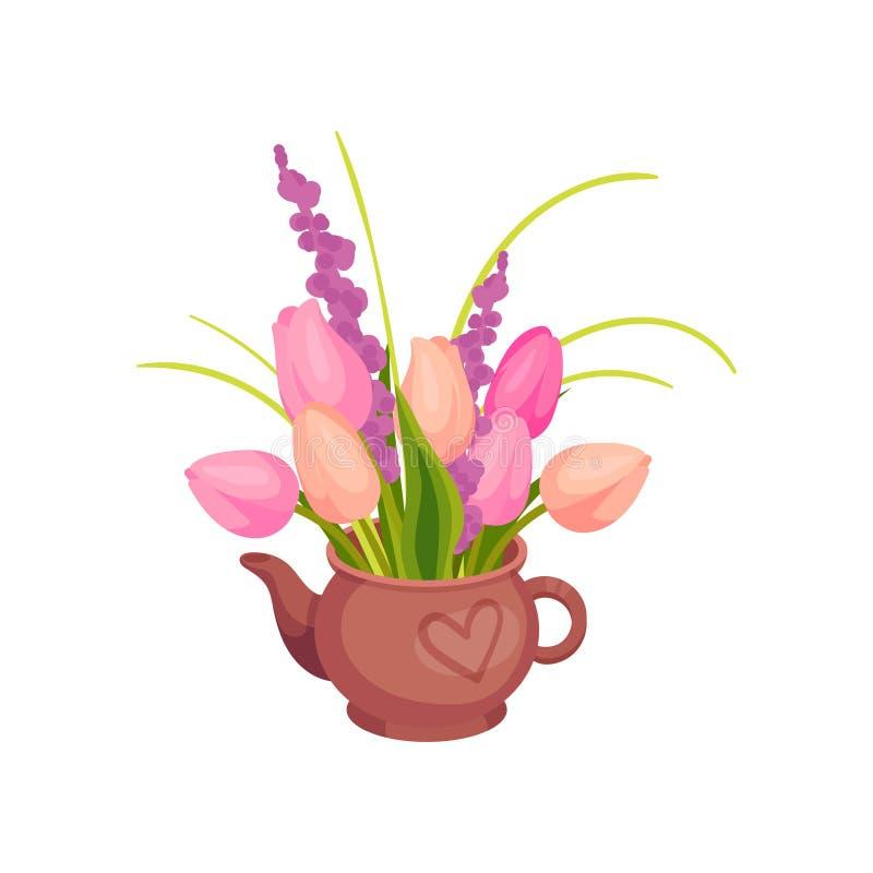 Los tulipanes rosados se colocan en la tetera Imagen del vector en el fondo blanco libre illustration