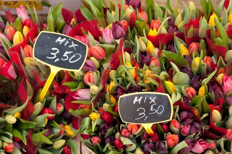 Los tulipanes se mezclan en Albert Cuypmarkt, Amsterdam imagenes de archivo