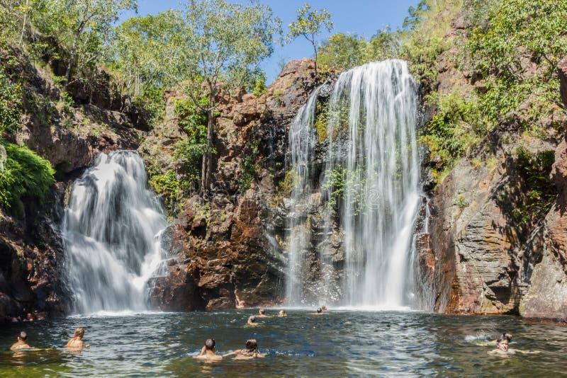 Los turistas y los residentes gozan el restaurar de nadada en Florence Falls, destino muy popular para los turistas y los locals  foto de archivo libre de regalías