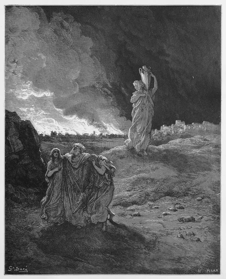 Los und seine Familie fliehen von Sodom stock abbildung