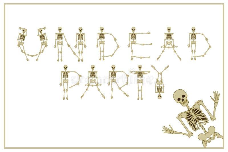 Los undead de las letras van de fiesta con la fuente de los esqueletos del baile, sistema de lette libre illustration