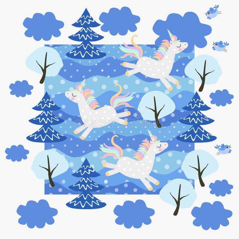 Los unicornios divertidos hermosos juegan en el modelo maravilloso de la Navidad del bosque nevoso del invierno, postal, impresi libre illustration