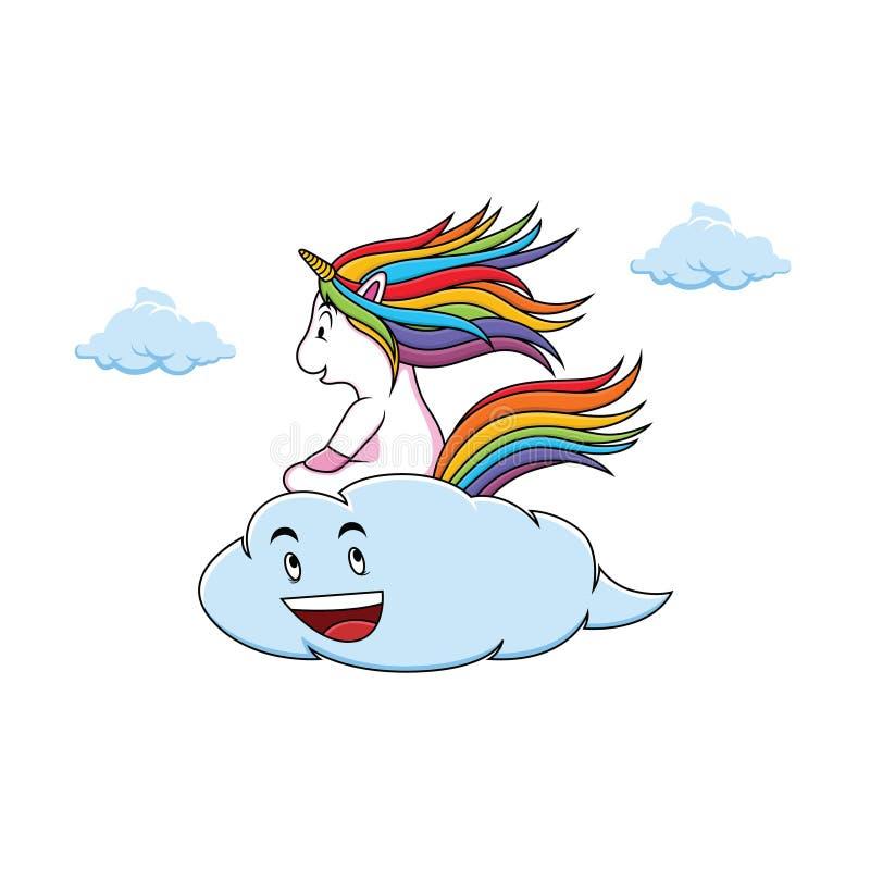 Los unicornios lindos están montando las nubes fotos de archivo