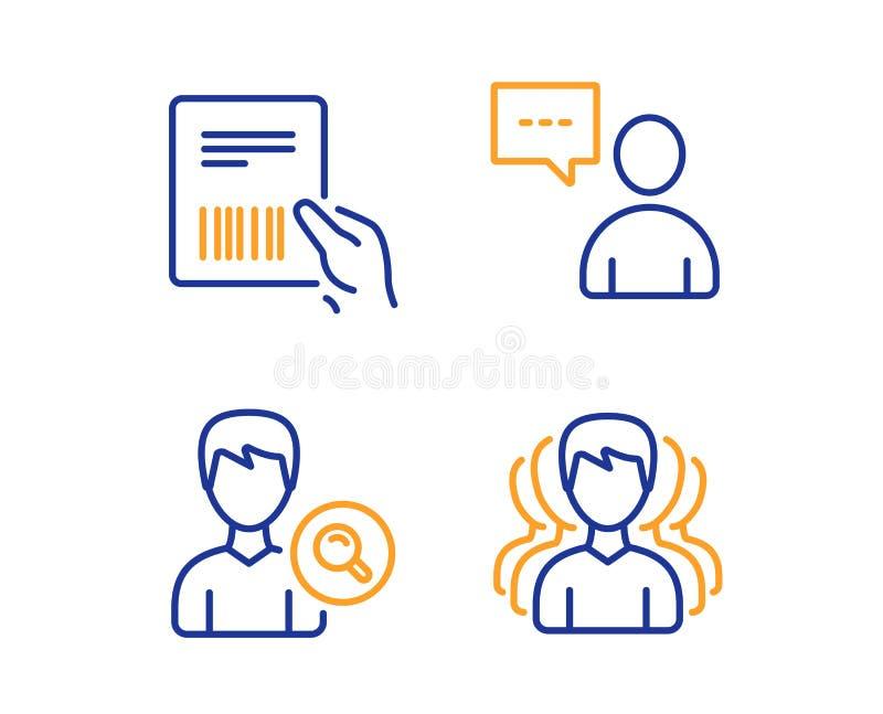 Los usuarios charlan, empaquetan el sistema de los iconos de la factura y de la gente de la b?squeda Muestra del grupo Vector libre illustration