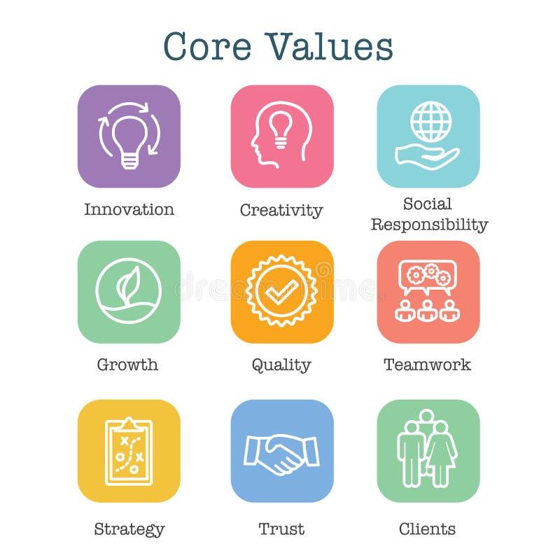 Los valores de la base resumen/línea icono que transporta la integridad - propósito ilustración del vector