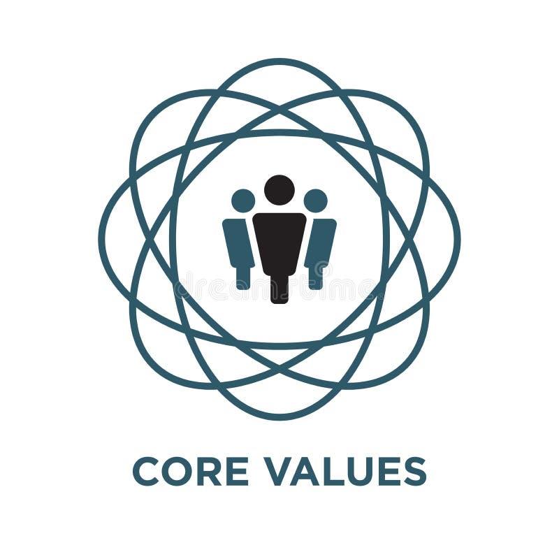 Los valores de la base resumen/línea icono que transporta integridad/propósito stock de ilustración