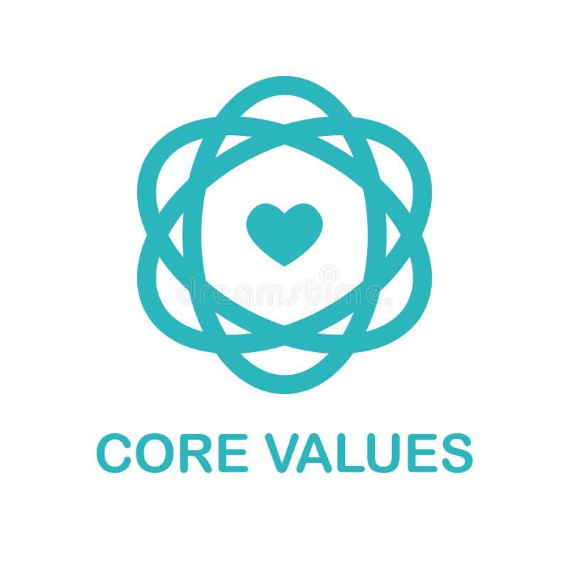 Los valores de la base resumen/línea icono que transporta integridad/propósito ilustración del vector