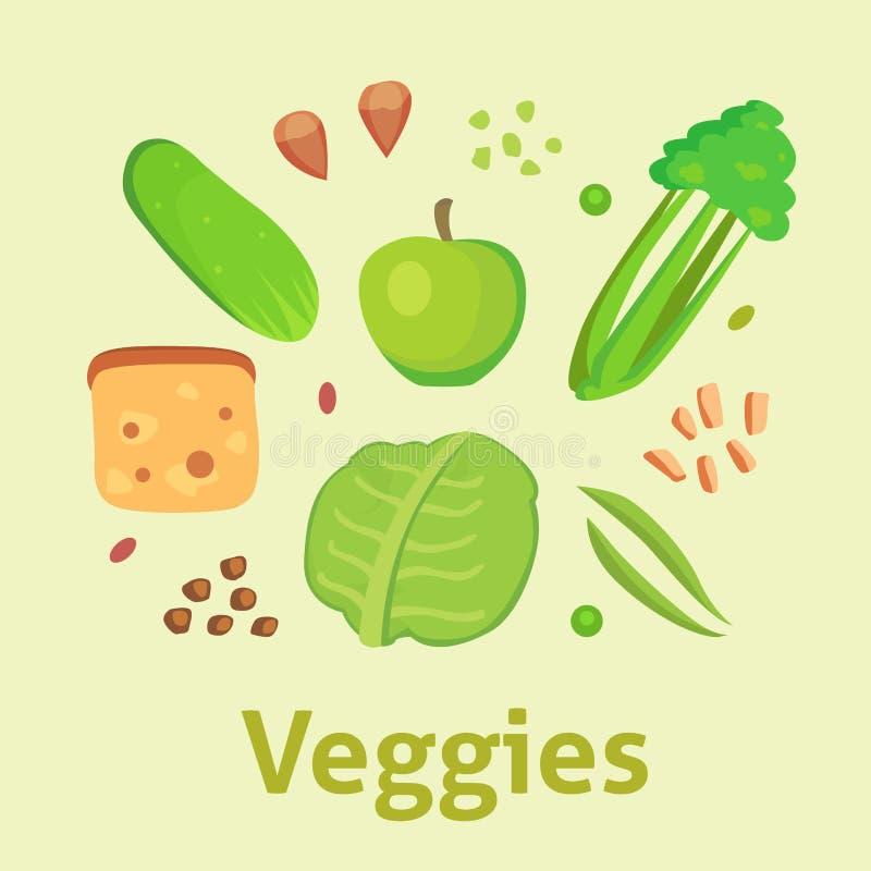 Los veggies orgánicos aislados celulosa del ingrediente de la comida de la dieta del verde vegetal sano de la comida agrupan el s libre illustration