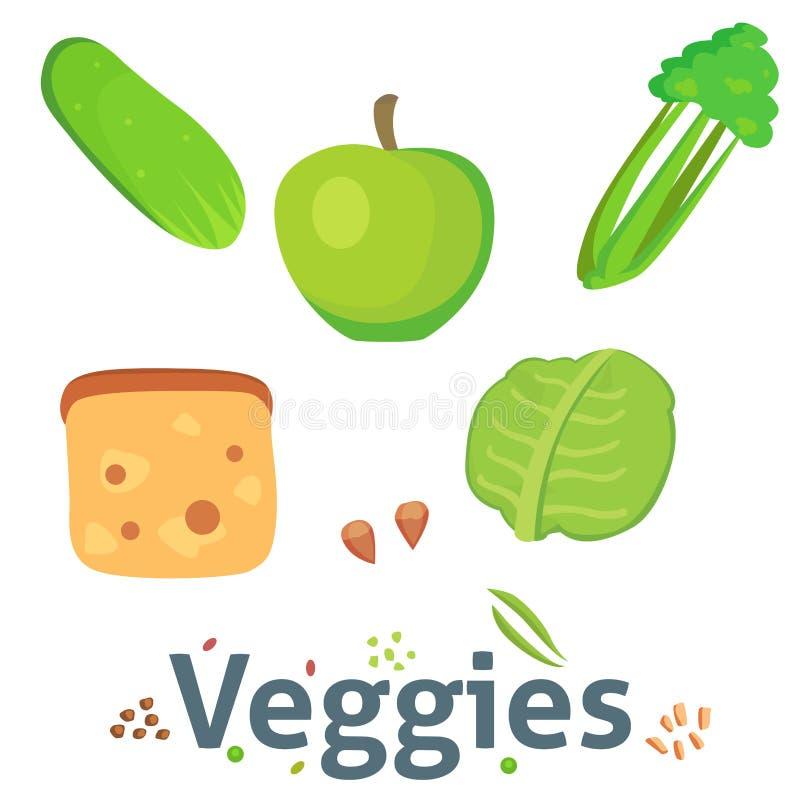 Los veggies orgánicos aislados celulosa del ingrediente de la comida de la dieta del verde vegetal sano de la comida agrupan el s stock de ilustración