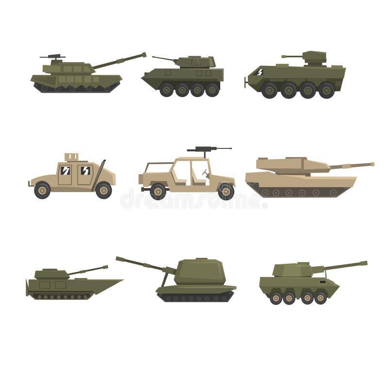 Los vehículos de ejército acorazados fijaron, los ejemplos pesados, especiales militares del vector del transporte en un fondo bl ilustración del vector