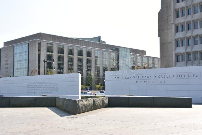 Los veteranos americanos inhabilitados para el monumento de la vida en Washington, DC imagenes de archivo