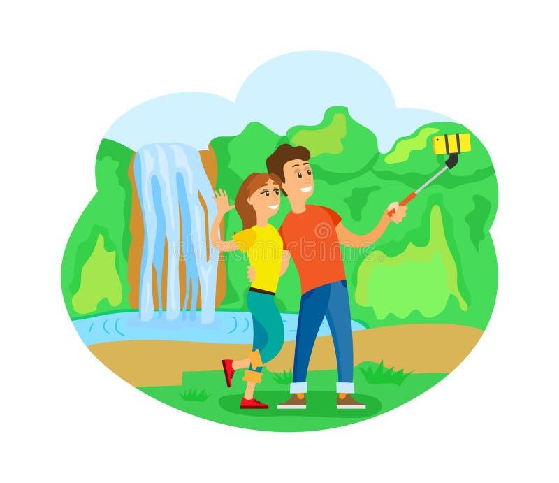 Los viajeros se juntan en la cascada que toma Selfie, viaje ilustración del vector