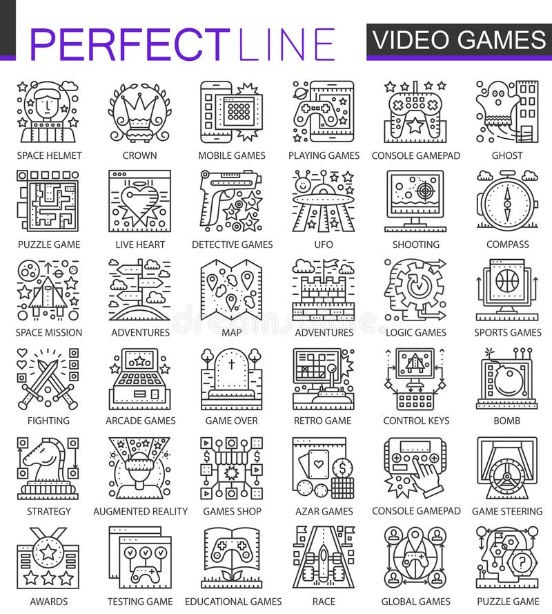 Los videojuegos resumen mini símbolos del concepto Ejemplos lineares del estilo del movimiento moderno fijados Línea fina perfect libre illustration
