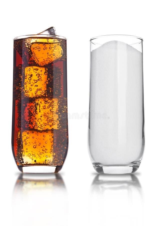 Los vidrios de soda malsana de la cola y del azúcar beben imagen de archivo libre de regalías
