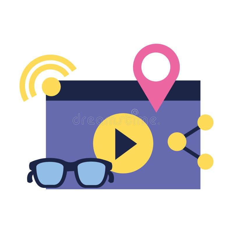 Los vidrios video comparten medios sociales del indicador stock de ilustración