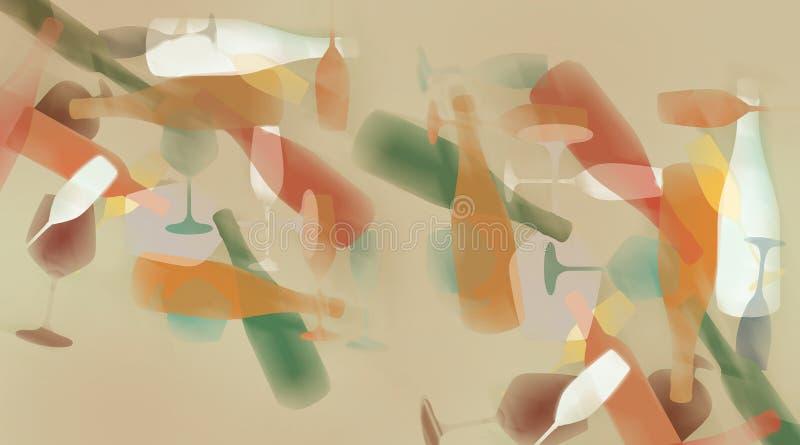 Los vidrios y las botellas de vino se ven en el movimiento y el color abstractos en este ejemplo stock de ilustración