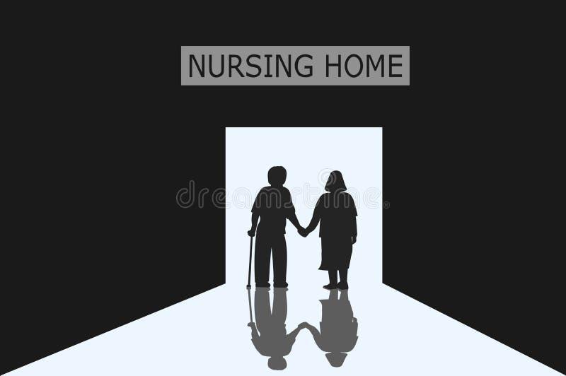 Los viejos hombres y las mujeres que son pares están entrando en la puerta de la clínica de reposo con la luz libre illustration