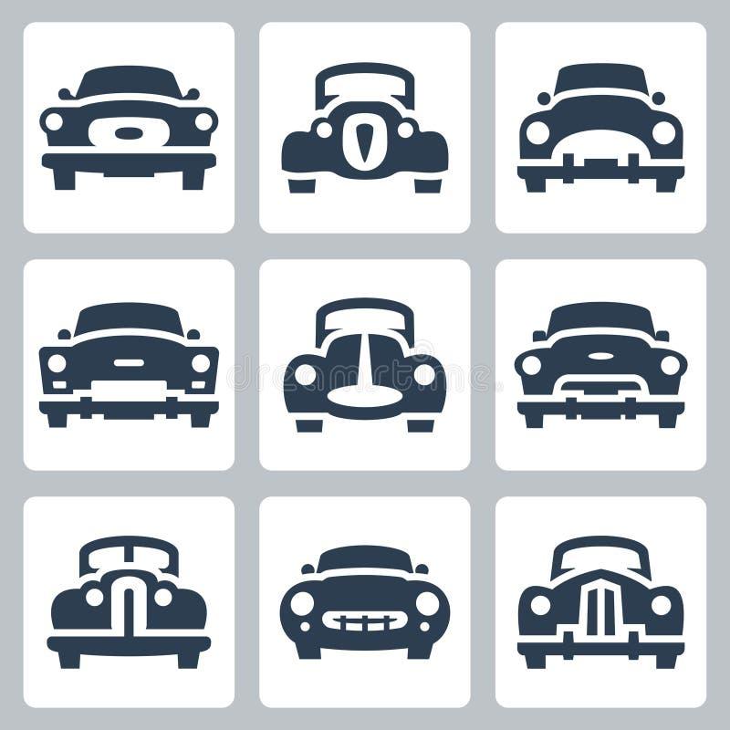 Los viejos iconos de los coches del vector fijaron, vista delantera ilustración del vector
