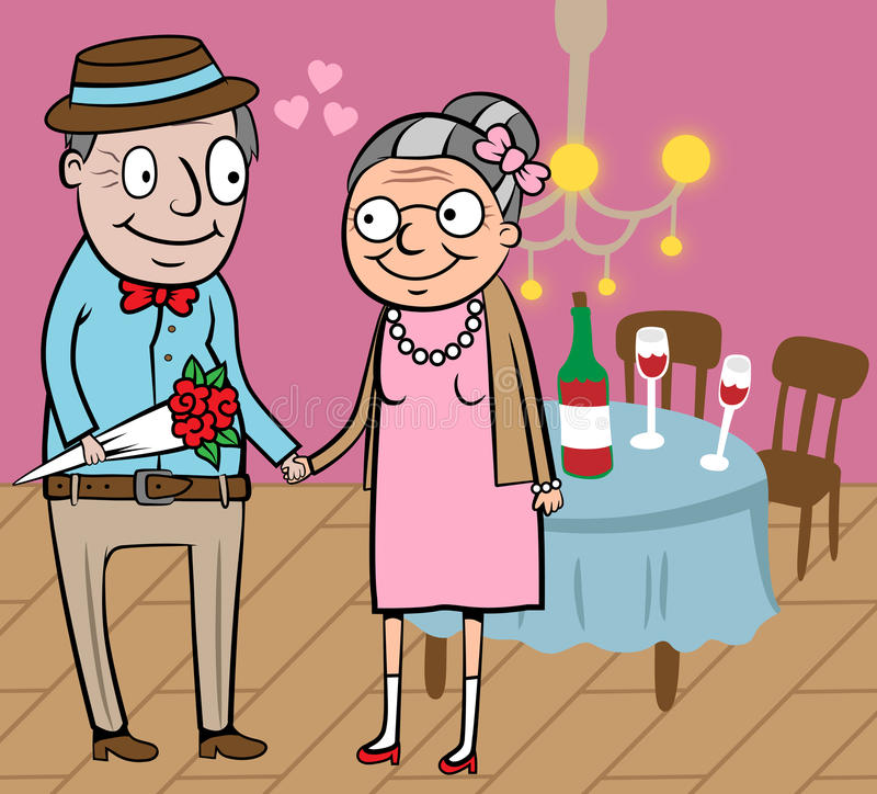 Los viejos pares felices celebran a la tarjeta del día de San Valentín stock de ilustración