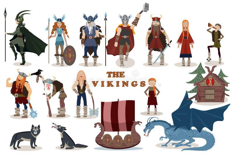 Los Vikingos Personajes de dibujos animados de Viking libre illustration